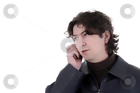 Call stock photo, Man on the phone over a white background by Rui Vale de Sousa