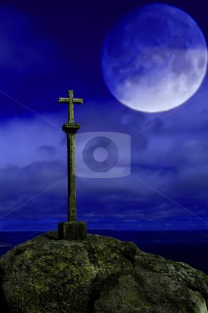 Cross stock photo, Cross silhouette and the sky with full moon by Rui Vale de Sousa