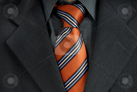Red tie stock photo, Detail of a Business man Suit with red tie by Rui Vale de Sousa