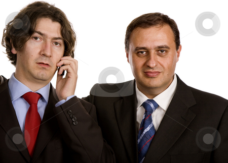 Team stock photo, Two young business men portrait on white. by Rui Vale de Sousa