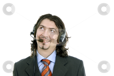 Service stock photo, Young call center man talking by the phone by Rui Vale de Sousa