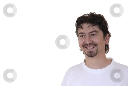 Happy stock photo, Happy casual young man in a white background by Rui Vale de Sousa