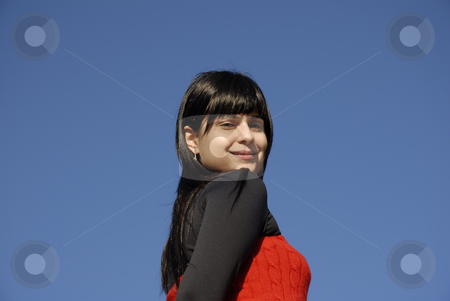 Girl stock photo, Casual latin girl outdoors with the sky in the background by Rui Vale de Sousa