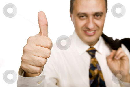 Thumbs up stock photo, Business man going thumbs up, focus on the hand by Rui Vale de Sousa