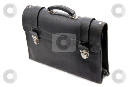 Suitcase stock photo, Old black suitcase isolated on white background by Rui Vale de Sousa