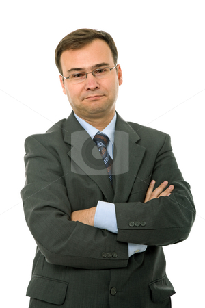 Bored stock photo, Young business man portrait in white background by Rui Vale de Sousa