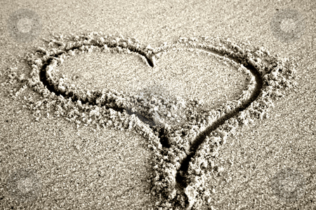 Heart stock photo, Love message, an heart draw in the sand by Rui Vale de Sousa