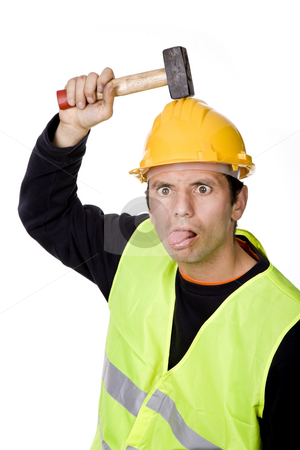 Silly stock photo, Young casual worker portrait with a hammer by Rui Vale de Sousa