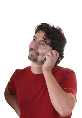 Calling stock photo, Young man alone calling with a cell phone by Rui Vale de Sousa