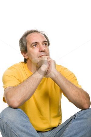 Pensive stock photo, Mature pensive man, isolated on white background by Rui Vale de Sousa