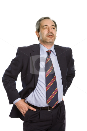 Rest stock photo, Mature business man portrait in white background by Rui Vale de Sousa