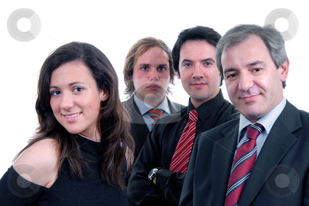 Team stock photo, Business team work, isolated on white background, focus on the two on the front by Rui Vale de Sousa