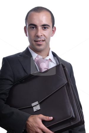 Businessman stock photo, Young businessman with a suitcase isolated on white by Rui Vale de Sousa