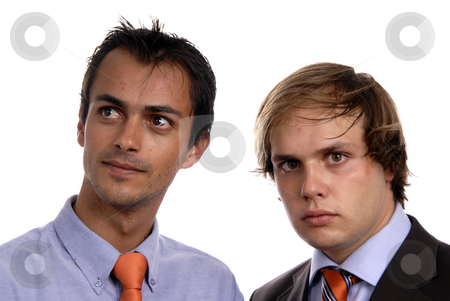 Business men stock photo, Two young business men portrait on white. by Rui Vale de Sousa