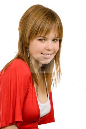 Portrait stock photo, Young casual blonde woman close up portrait by Rui Vale de Sousa