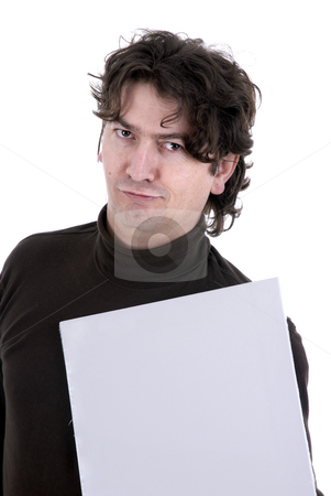 Advert stock photo, Man with a white card in a white background by Rui Vale de Sousa