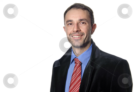 Happy stock photo, Young business men portrait isolated on white by Rui Vale de Sousa