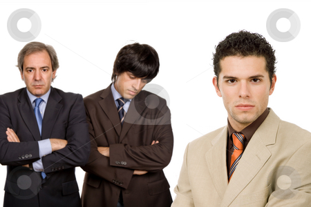 Business stock photo, Three business men isolated on white background, focus on the right man by Rui Vale de Sousa