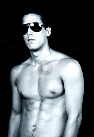 Model stock photo, Naked muscular male model with sun glasses, tone mode by Rui Vale de Sousa