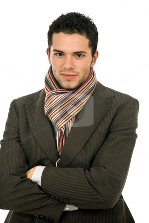 Young man stock photo, Young man portrait, dressed for winter, in white by Rui Vale de Sousa