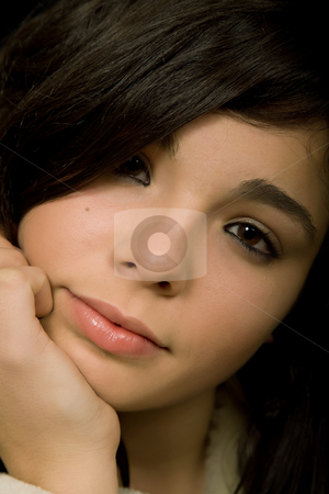 Close stock photo, Young beautiful brunette portrait against black background by Rui Vale de Sousa