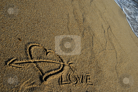 Beach stock photo, Love message, an heart draw in the sand by Rui Vale de Sousa