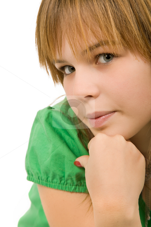 Closeup stock photo, Young casual blonde woman close up portrait by Rui Vale de Sousa