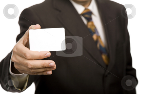 Businesscard stock photo, Hand of businessman offering businesscard on white background by Rui Vale de Sousa