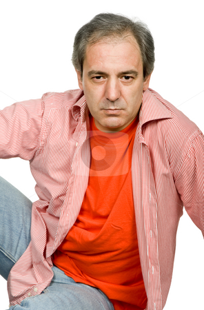 Staring stock photo, Mature casual man, isolated on white background by Rui Vale de Sousa