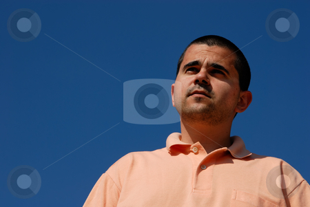Wondering stock photo, Young casual man portrait with the sky as background by Rui Vale de Sousa
