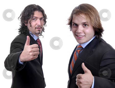 Thumbs up stock photo, Two young business men, focus on the left man by Rui Vale de Sousa