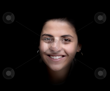 Happy stock photo, Happy young girl portrait isolated on black by Rui Vale de Sousa