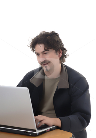 Working stock photo, Casual young man portrait wirking with personal computer by Rui Vale de Sousa