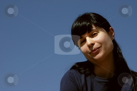 Portrait stock photo, Young girl portrait with the sky as background by Rui Vale de Sousa