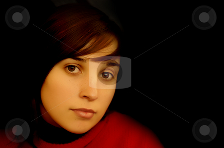 Sad stock photo, Sad casual young woman portrait in black background by Rui Vale de Sousa