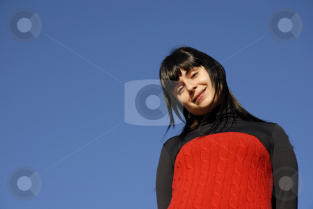 Woman stock photo, Casual latin girl outdoors with the sky in the background by Rui Vale de Sousa