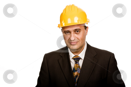 Standing stock photo, An engineer with yellow hat, isolated on white by Rui Vale de Sousa