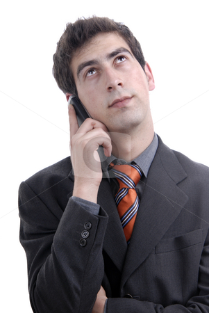 Call stock photo, Young casual man on the phone, isolated on white by Rui Vale de Sousa
