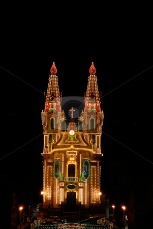 Church stock photo, Church with christmas light in the night by Rui Vale de Sousa