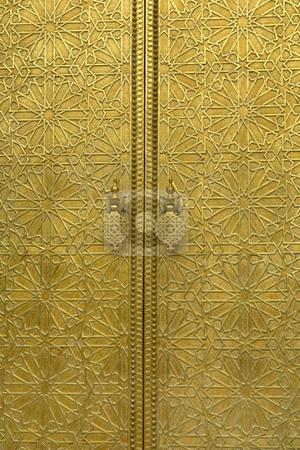 Entrance stock photo, Golden door detail in a house in morocco by Rui Vale de Sousa