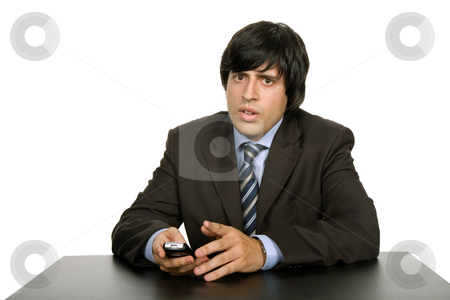 Worker stock photo, Young worried business man, on a desk by Rui Vale de Sousa