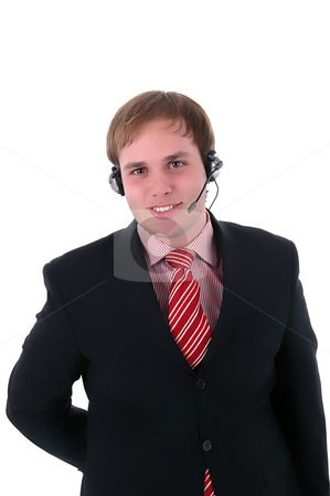 Operator stock photo, Young call center man talkind by the phone by Rui Vale de Sousa