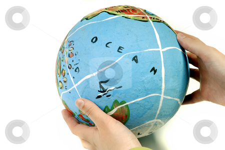 Globe stock photo, Globe in woman hands, isolated on white by Rui Vale de Sousa