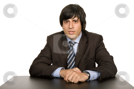 Young man stock photo, Young business man on a desk, isolated on white by Rui Vale de Sousa
