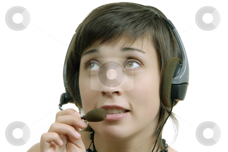 Calling stock photo, Woman secretary with hands free set answering a call by Rui Vale de Sousa