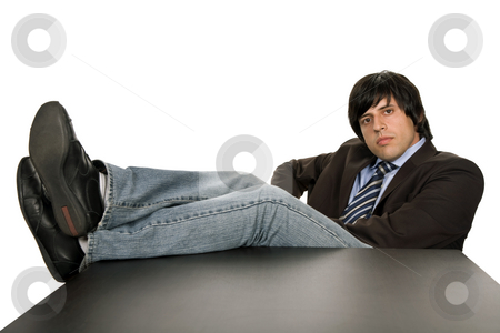Bored stock photo, Bored young business man on a desk, isolated on white by Rui Vale de Sousa