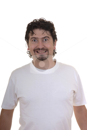 Crazy stock photo, Crazy young casual man in white background by Rui Vale de Sousa
