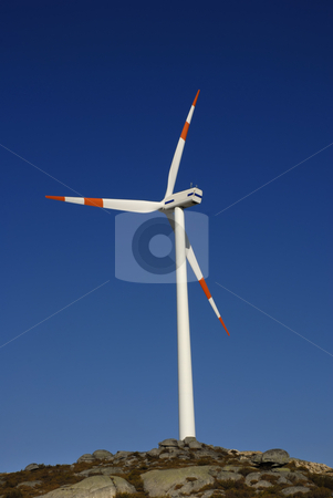Generator stock photo, White wind turbine in the top of the mountain by Rui Vale de Sousa