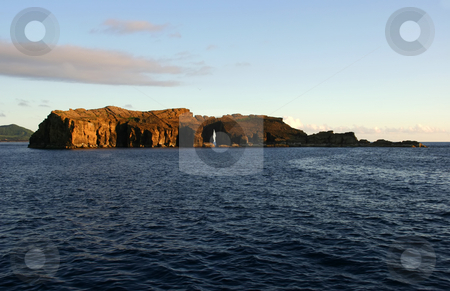 Island stock photo, Small island in azores, view from a boat by Rui Vale de Sousa
