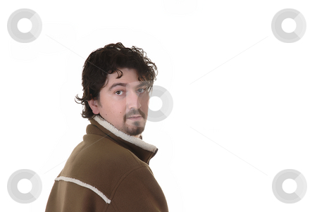 Man stock photo, Young casual man portrait in a white background by Rui Vale de Sousa